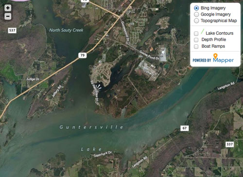 Here's a screen shot of the BassGold map for Guntersville. The ability to quick-switch between Google and Bing is too cool....